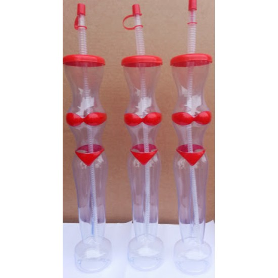 BIKINI Slush Yard Cups 15OZ x 48 cups with lid and straw RED