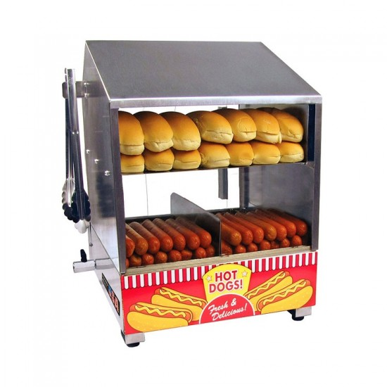 Hot dog steamer , Stainless steel and glass. Dimensions: 510(H)x 340(W)x 410(D)mm